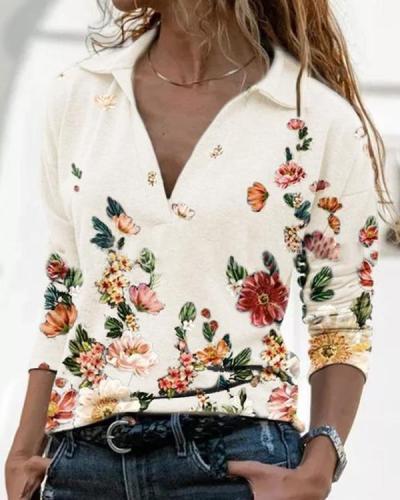Women Printed Long Sleeve V Neck Shirts