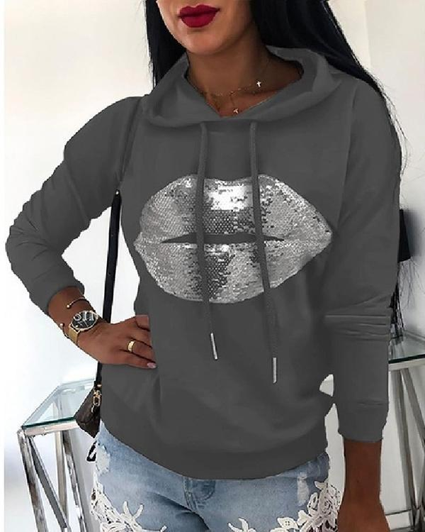 Fall Winter Printed Lip Loose Hoodies
