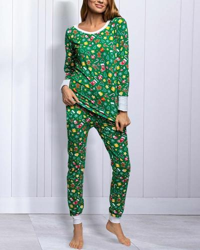 Casual Christmas Print Loungewear Shirt&Pants Set