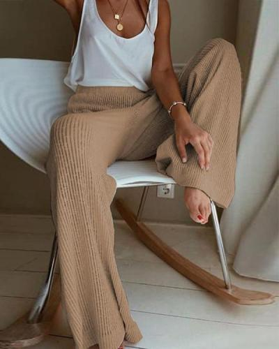 Solid Ribbed Casual Wide Leg Pants