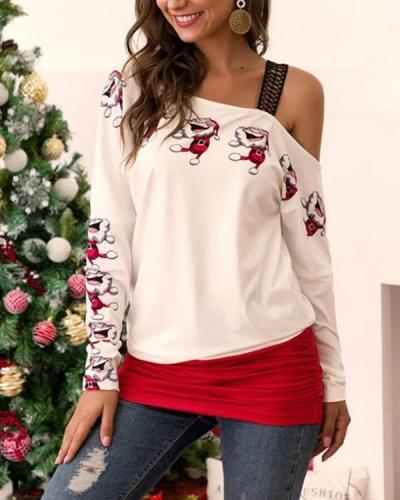 Lace Off-shoulder Santa Claus Print Blouse