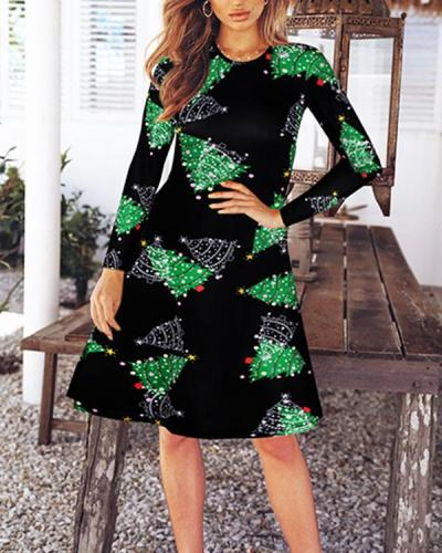 Long Sleeve Christmas Graphic Dress