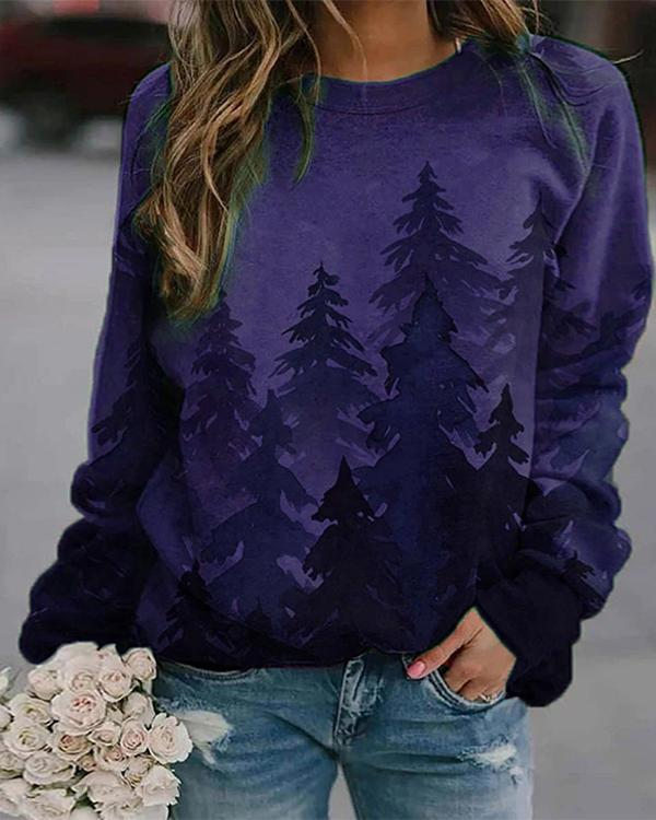 Forest Printed Polyester Crew Neck Sweatshirts