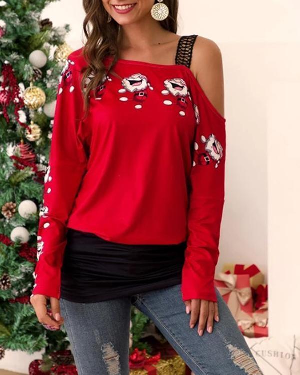 Lace Off-shoulder Santa Claus Print Blouse