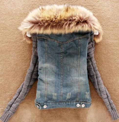 Denim Knitted Paneled Casual Jacket