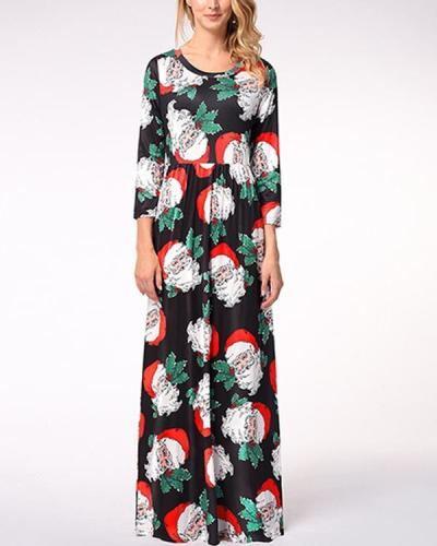 Casual Christmas Graphic Print A-Line O-Neckline Maxi Dress