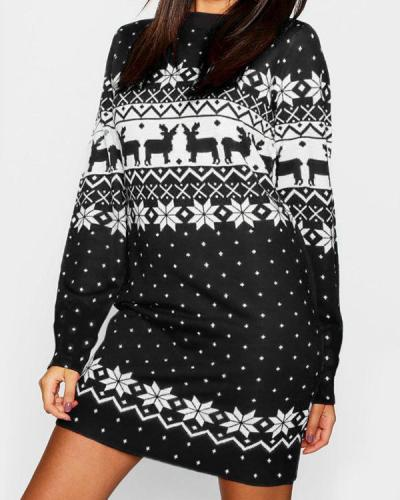 Christmas Print Mini Dress