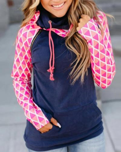 Casual Long Sleeve Color-block Sweatshirt