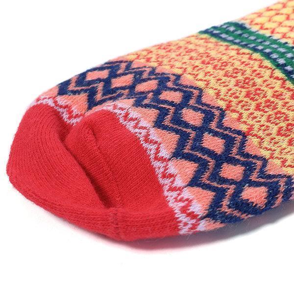 Men Women Couple Retro Cotton Striped Socks Design Multi-Color Fashion Casual Middle Tube Socks