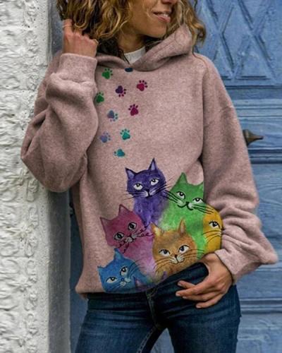 Cute Animal Printed Hooded Long Sleeve Sweatshirt