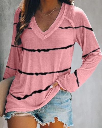 Stripe V-Neck Long Sleeves Casual T-shirts