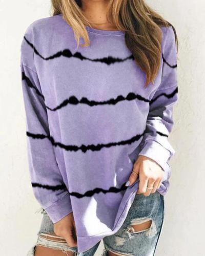 Color-Block Casual Cotton-Blend Long Sleeve Tops