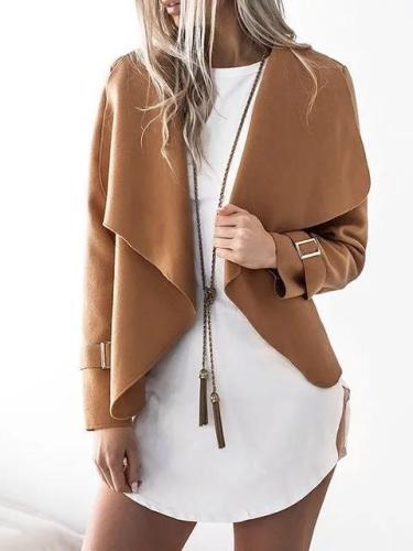 Shawl Collar Wool Long Sleeve Paneled Cotton Chic Cardigan