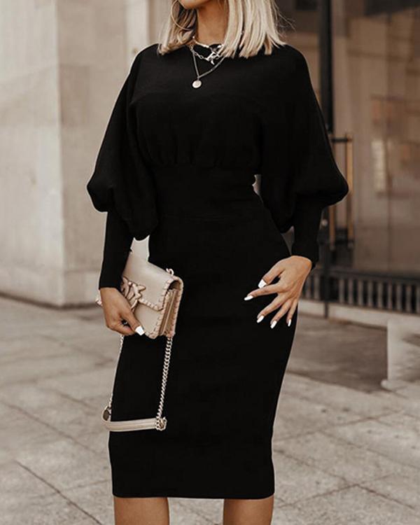 Long Sleeve Solid Knee Length Bodycon Elegant Dress