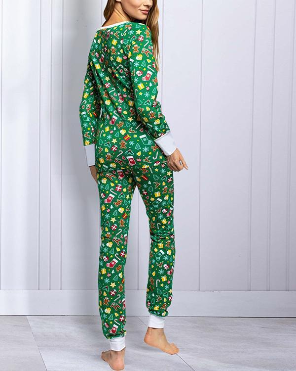 Casual Christmas Print Loungewear Shirt&Pants Set