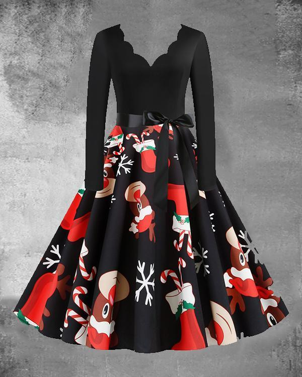 Christmas Print V-Neck Long Sleeved Midi Dress with Waistband(9 Patterns)