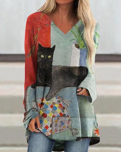 Women Long Sleeve Graffiti Printed Shirts & Tops