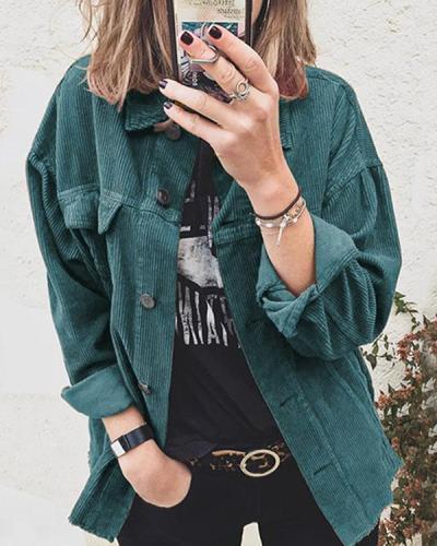Women Corduroy Shirt Jacket