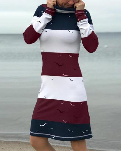 Animal Print Striped Long Sleeve Turtle Neck Dresses