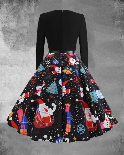Christmas Print O-Neck Long Sleeve Midi Dress with Waistband