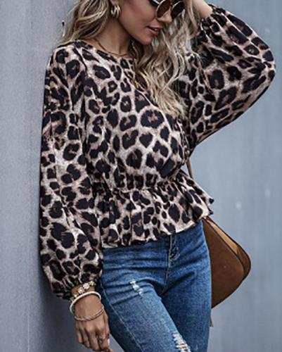 Women Leopard Fashion Long Sleeve Tops