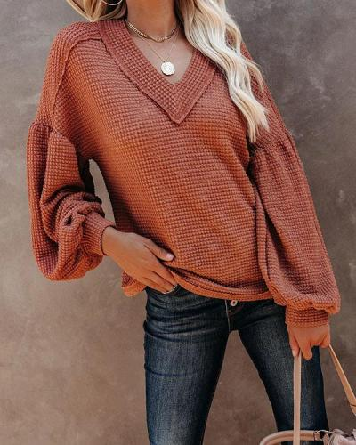 Women V-neck Long Sleeve  Loose Casual Blouse