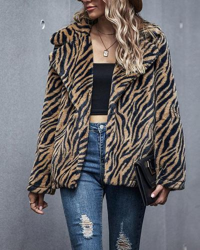 Women Tiger Stripes Print Winter Warm Coat