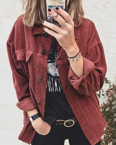 Women Corduroy Shirt Jacket