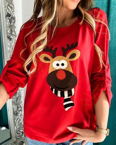 Women Deer Print Long Sleeves Shirts