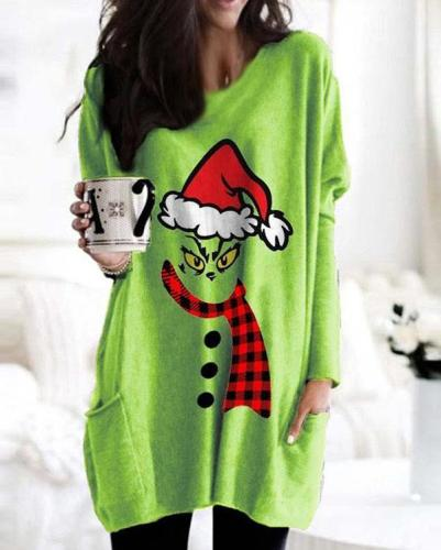Women Grinch Stole Christmas Print Long Sleeves Shirts