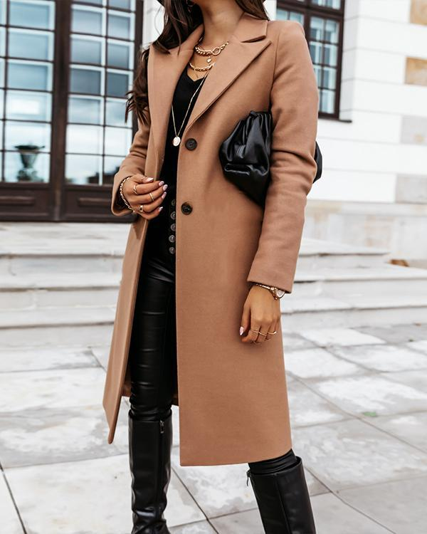 Women's Winter Pure Color Lapel Loose Coat