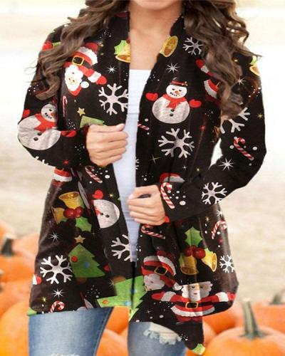 Women Autumn Winter Snow Man Print Cardigan