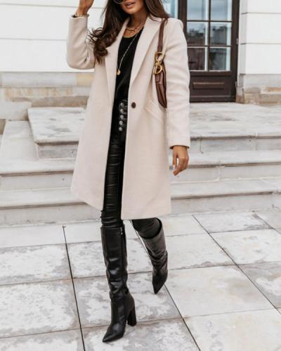 Women's Casual Fashion Pockets Lapel Straight Long Coat