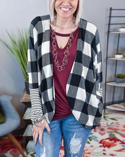 Contrast Color Plaid Striped Sleeve Cardigan Jacket
