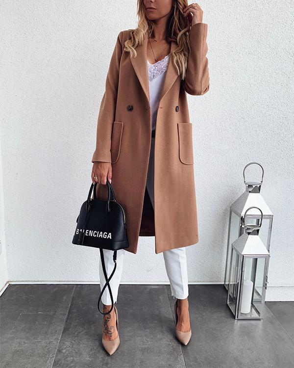 Solid Color Lapel Long Wool Coat