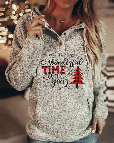 Women Fashion Print Long Sleeves Christmas Sweatshirt(6 Patterns)