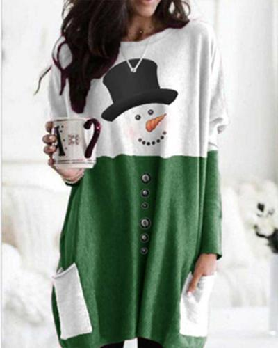 Christmas Color Stitching Print Bat Sleeve Pockets Casual Blouses Tops