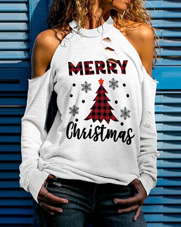 Christmas Tree Print Cold Shoulder Long Sleeves Casual Blouses