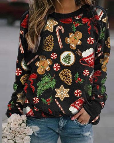 Women Christmas Print Cute Fleece Sweatshirt