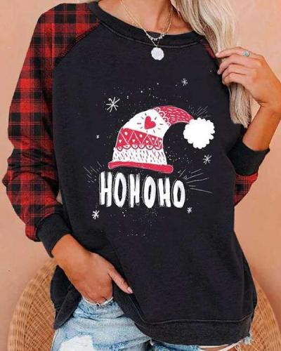 Christmas Print Round Neck Long Sleeve Plaid Patchwork Sweatshirt