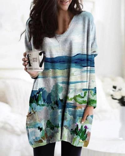 Landscape Print Long Sleeve V-neck Casual Blouse For Women