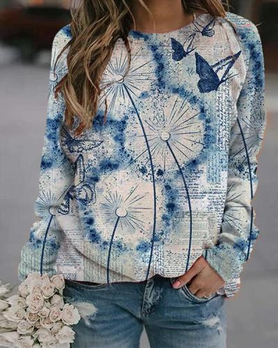 Flower Butterfly Printed Long Sleeve O-neck T-shirt For Women