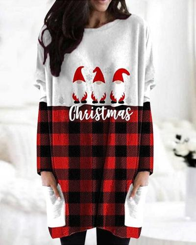 Christmas Color Block Print Bat Sleeve Pockets Casual Blouses Tops