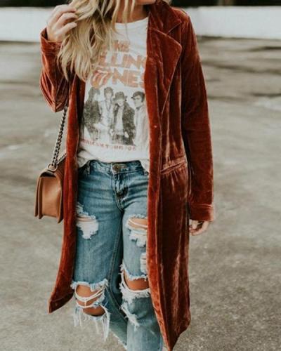 Women Plus Size Fashion Gold Velvet Long Coat
