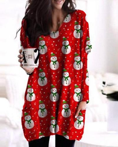 Christmas Print Bat Sleeve Pockets Casual Blouses Tops