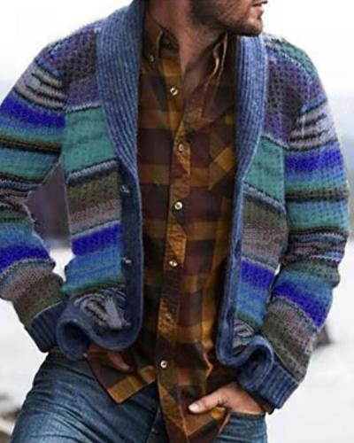 Vintage Casual Rainbow Pattern Knit Cardigan