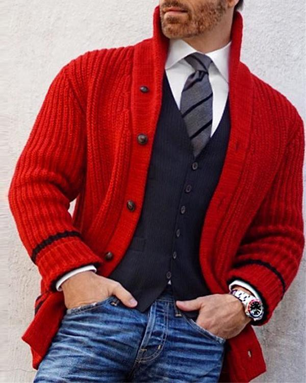 Classic Red Single Row Button Loose Casual Knit Sweater