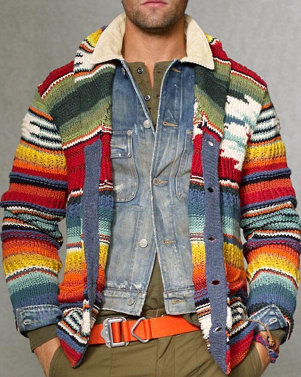 Fashion Rainbow Colorblock Knit Sweater