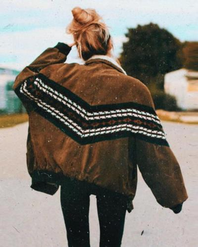 Loose Fitting Retro Stripe Cotton Jacket