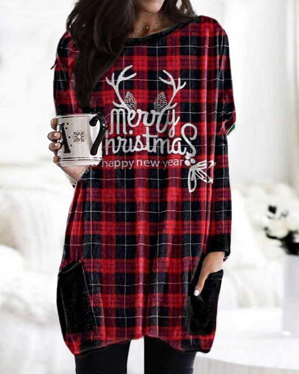 Christmas Print Bat Sleeve Pockets Casual Blouses Tops